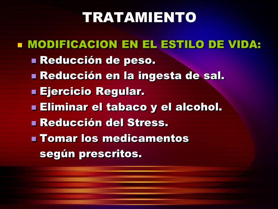 TRATAMIENTO MODIFICACION EN EL ESTILO DE VIDA: Reducción de peso.