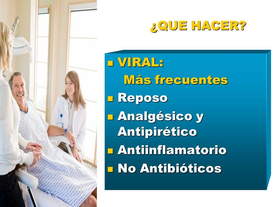 ¿QUE HACER VIRAL: Más frecuentes. Reposo. Analgésico y Antipirético. Antiinflamatorio.