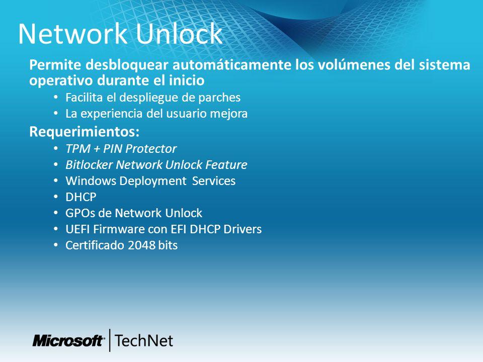 Tech Ready 15 4/1/2017. Network Unlock. Permite desbloquear automáticamente los volúmenes del sistema operativo durante el inicio.