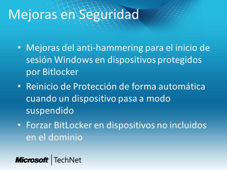 Mejoras en Seguridad Mejoras del anti-hammering para el inicio de sesión Windows en dispositivos protegidos por Bitlocker.