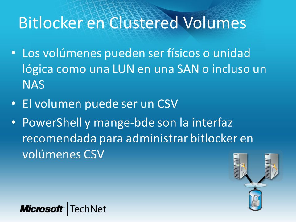 Bitlocker en Clustered Volumes