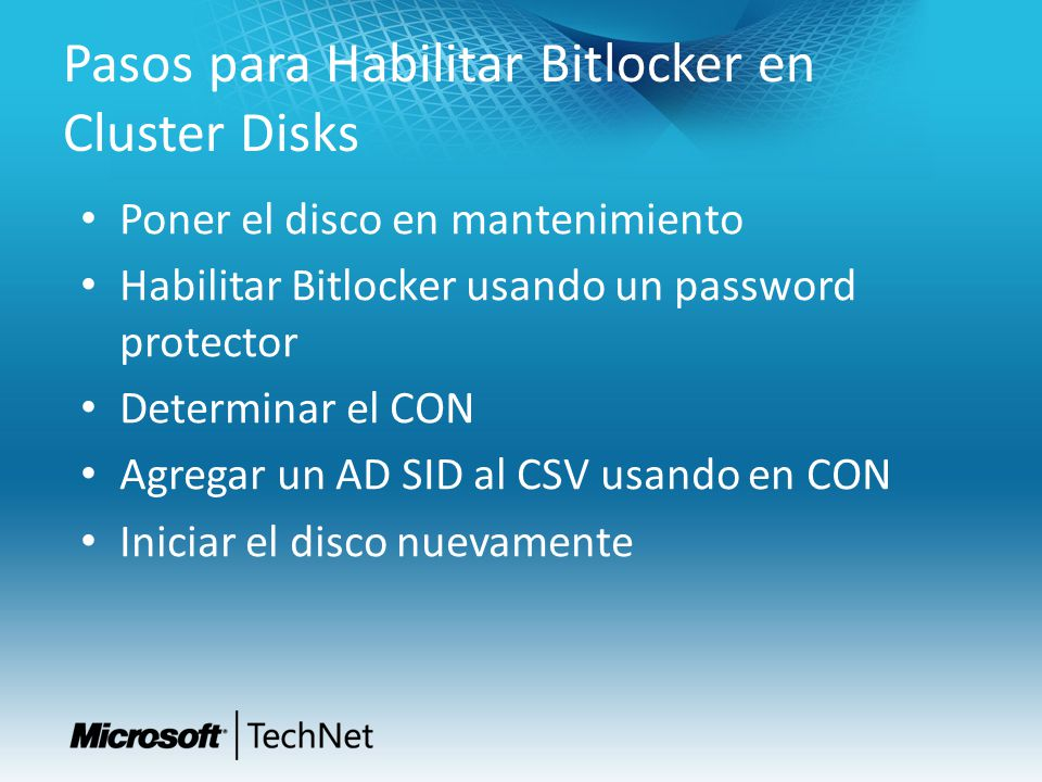 Pasos para Habilitar Bitlocker en Cluster Disks
