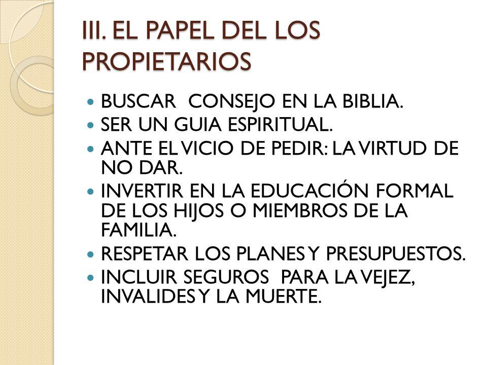 III. EL PAPEL DEL LOS PROPIETARIOS