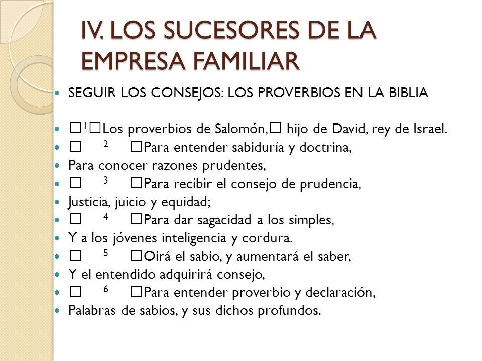 IV. LOS SUCESORES DE LA EMPRESA FAMILIAR