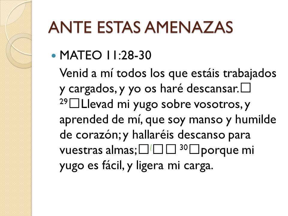 ANTE ESTAS AMENAZAS MATEO 11:28-30