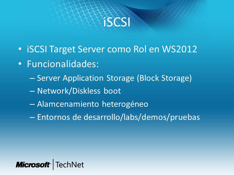 iSCSI iSCSI Target Server como Rol en WS2012 Funcionalidades: