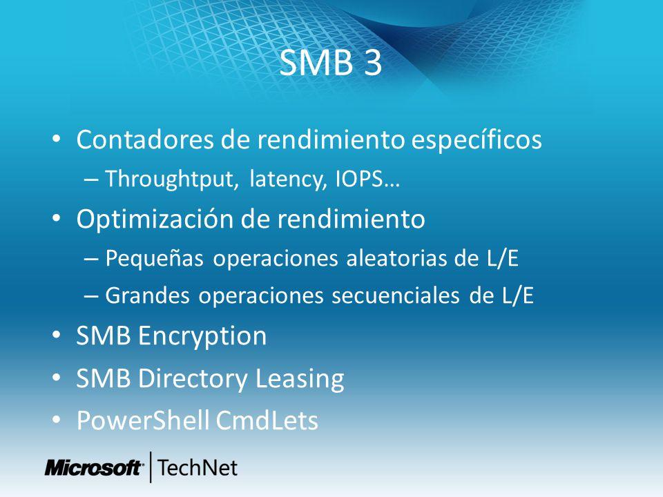SMB 3 Contadores de rendimiento específicos