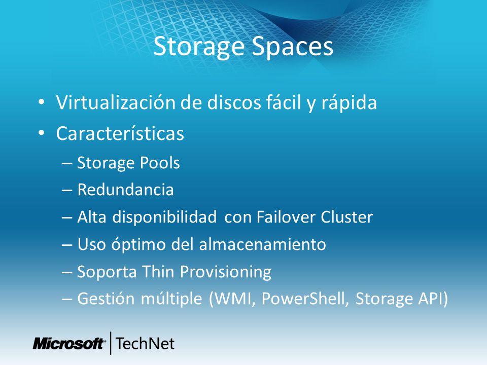 Storage Spaces Virtualización de discos fácil y rápida Características