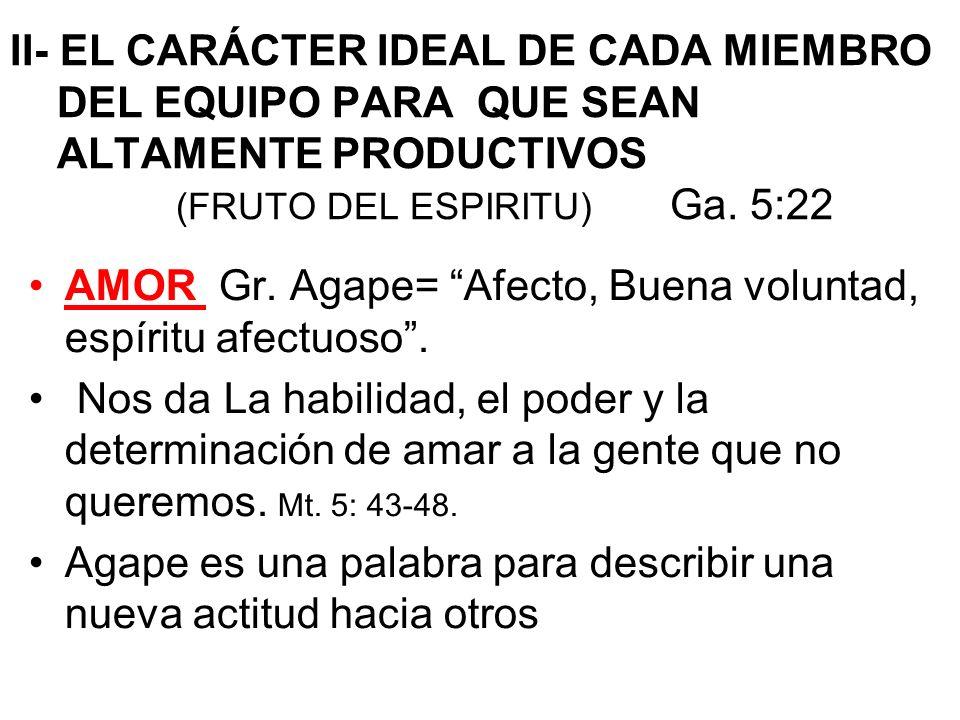 II- EL CARÁCTER IDEAL DE CADA MIEMBRO DEL EQUIPO PARA QUE SEAN ALTAMENTE PRODUCTIVOS (FRUTO DEL ESPIRITU) Ga. 5:22