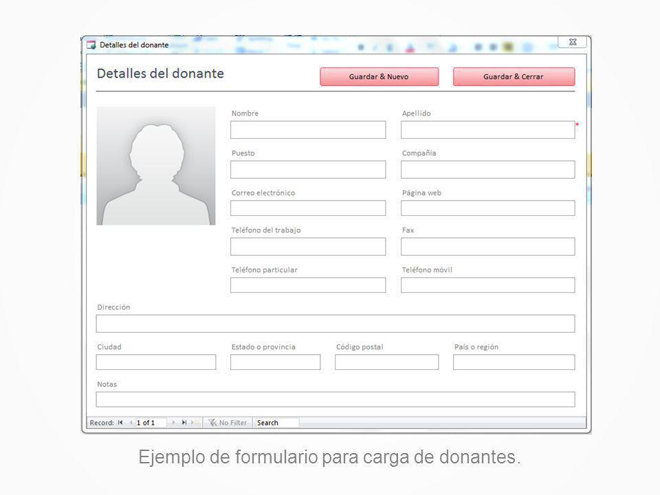 Ejemplo de formulario para carga de donantes.