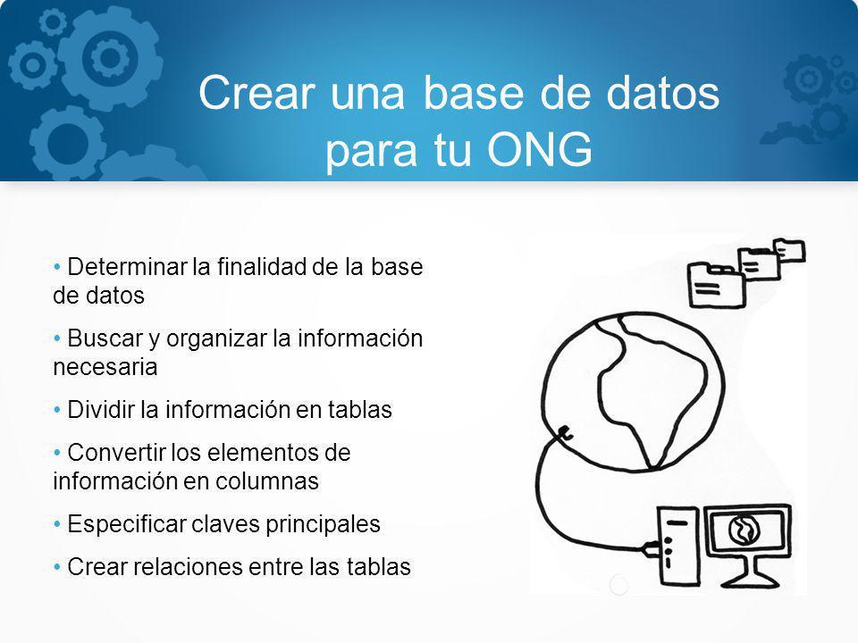 Crear una base de datos para tu ONG