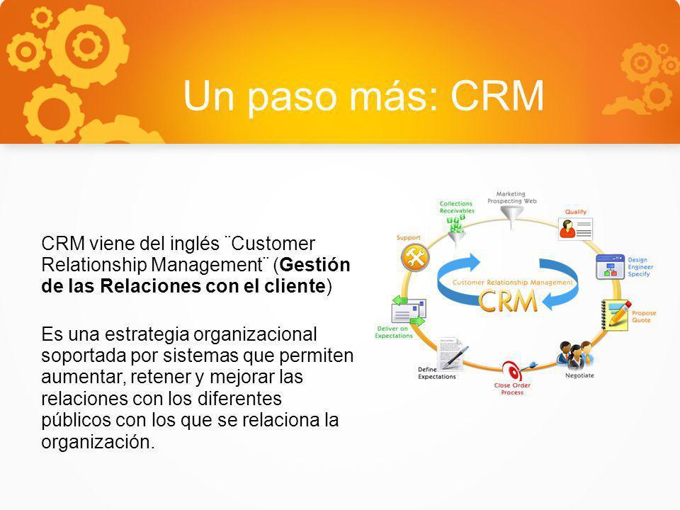Un paso más: CRM CRM viene del inglés ¨Customer Relationship Management¨ (Gestión de las Relaciones con el cliente)