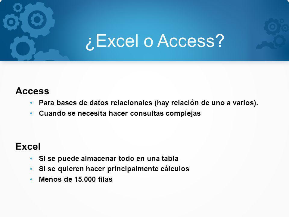 ¿Excel o Access Access Excel