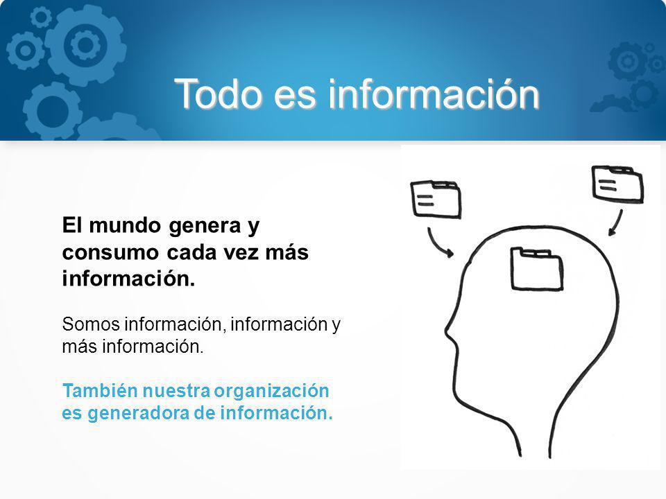 Todo es información El mundo genera y consumo cada vez más información. Somos información, información y más información.