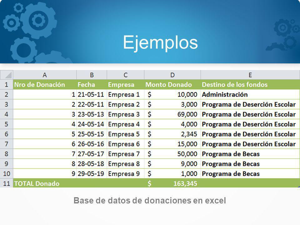 Base de datos de donaciones en excel