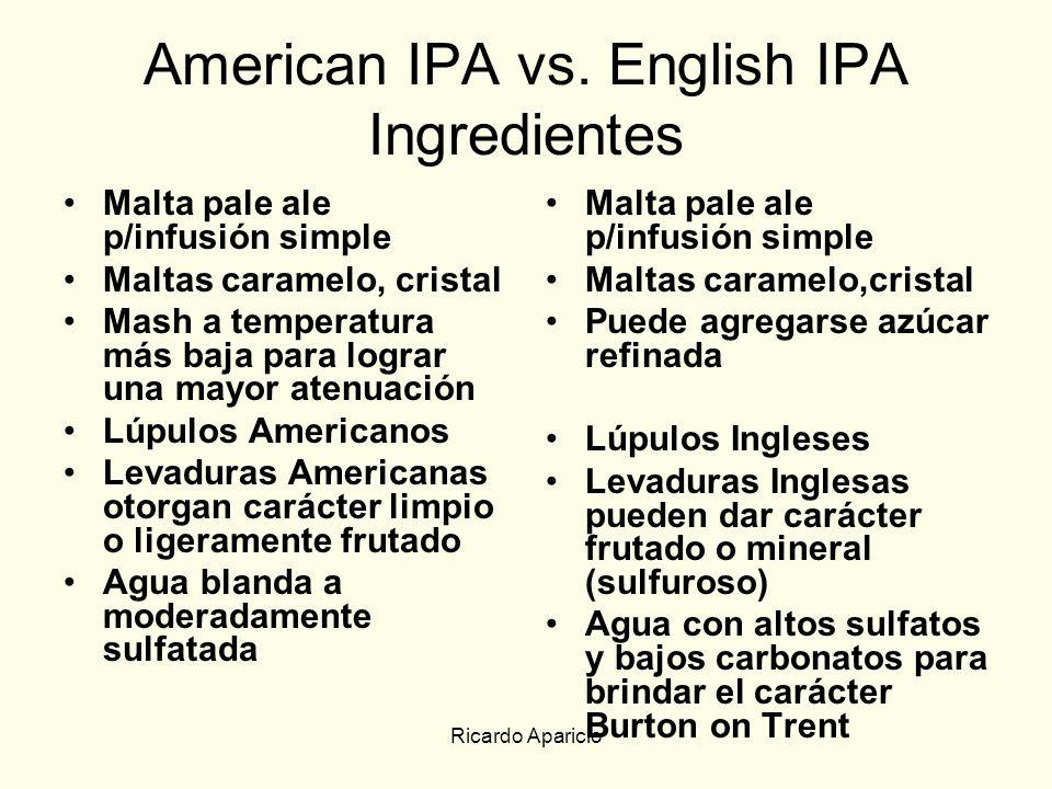 American IPA vs. English IPA Ingredientes