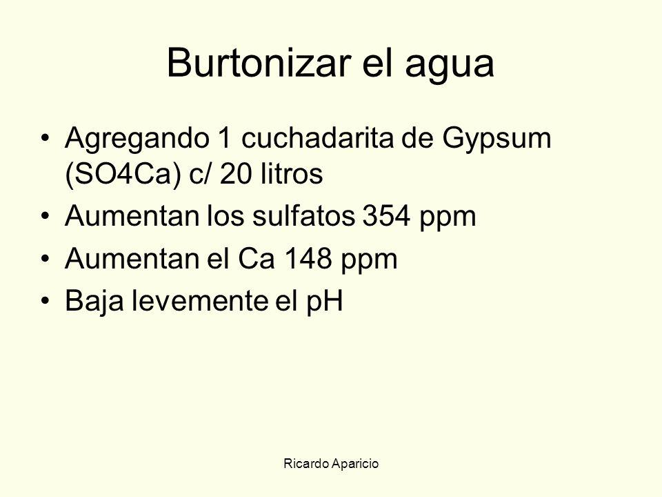 Burtonizar el agua Agregando 1 cuchadarita de Gypsum (SO4Ca) c/ 20 litros. Aumentan los sulfatos 354 ppm.