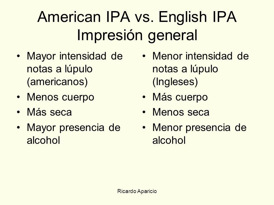 American IPA vs. English IPA Impresión general