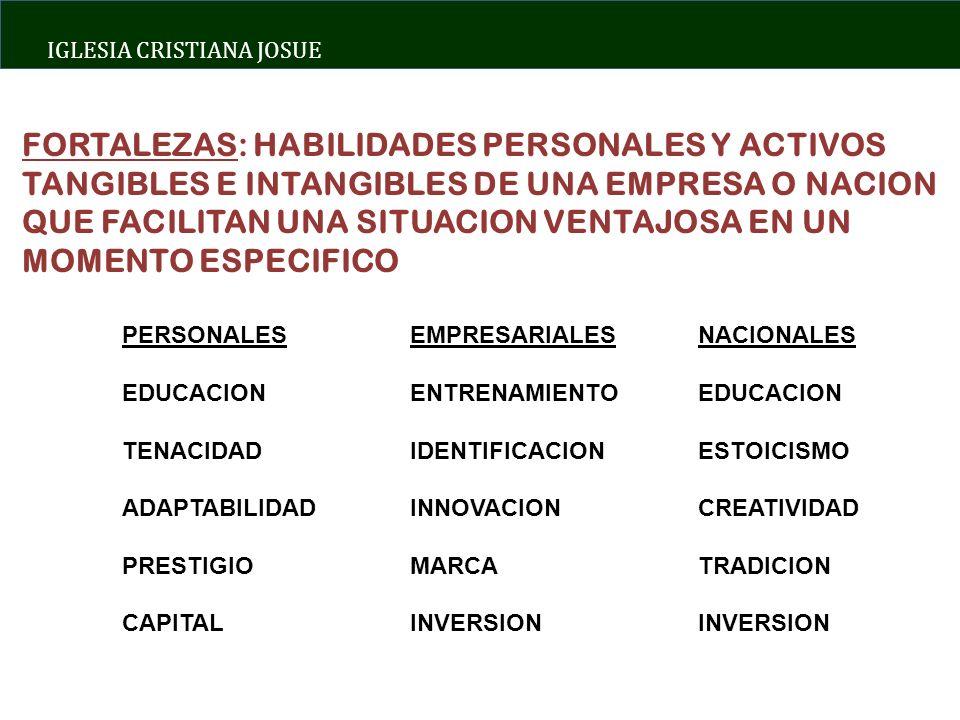 FORTALEZAS: HABILIDADES PERSONALES Y ACTIVOS