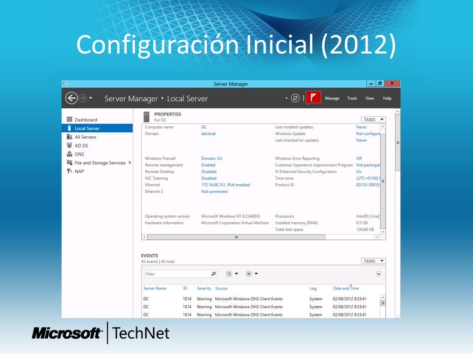 Configuración Inicial (2012)