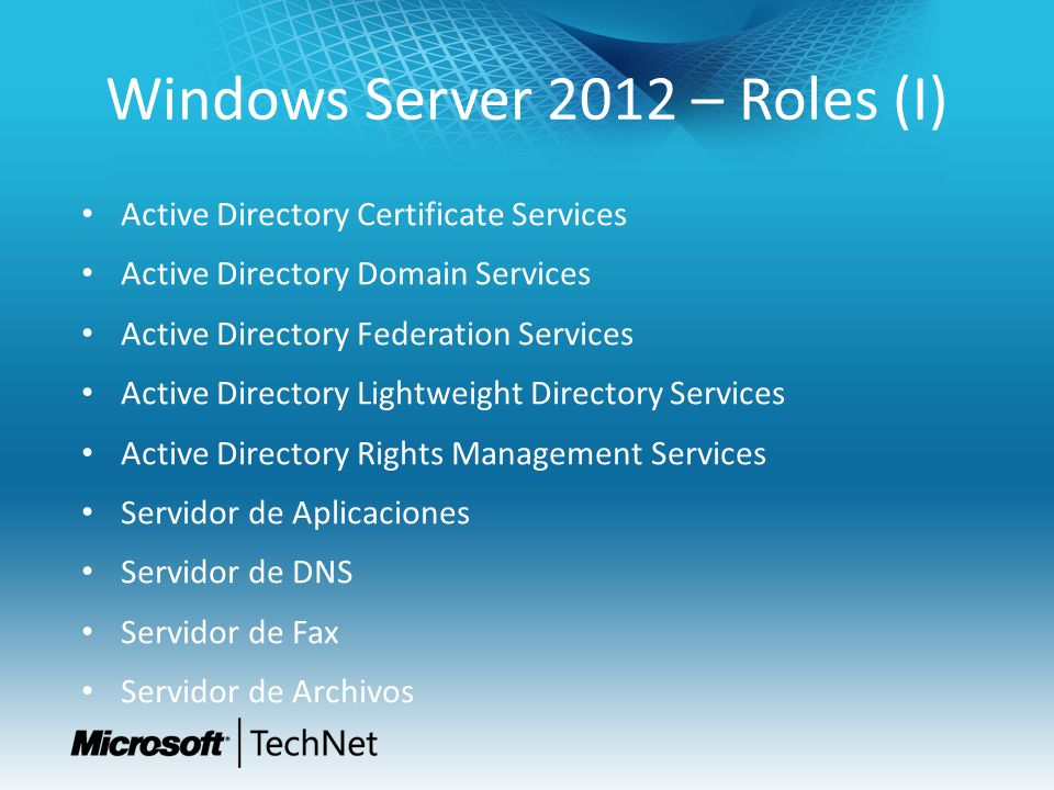 Windows Server 2012 – Roles (I)