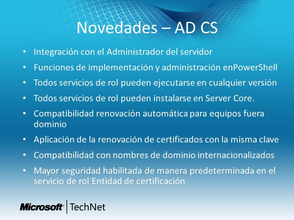 Novedades – AD CS Integración con el Administrador del servidor