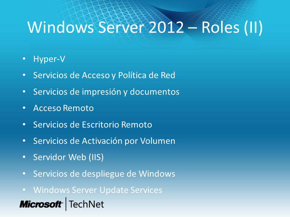 Windows Server 2012 – Roles (II)