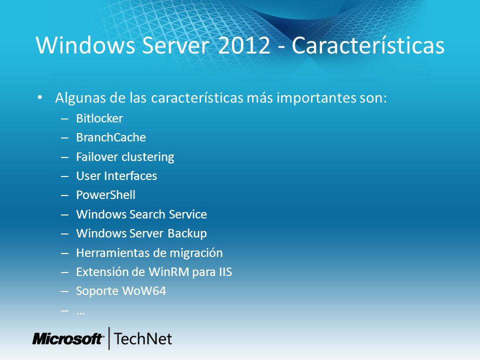 Windows Server 2012 - Características
