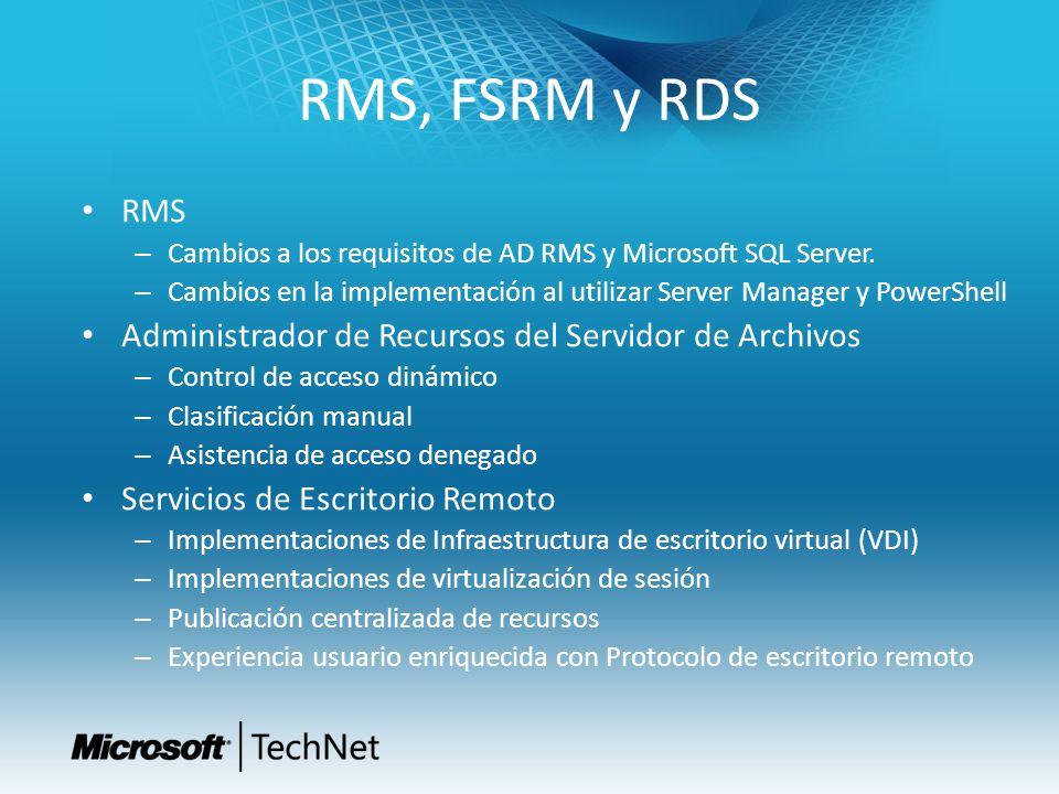 RMS, FSRM y RDS RMS Administrador de Recursos del Servidor de Archivos