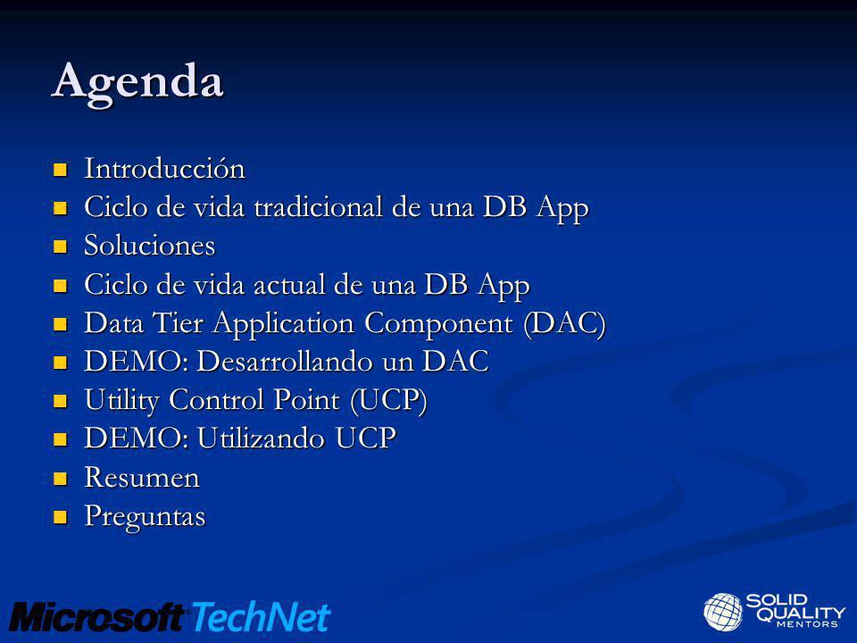 Agenda Introducción Ciclo de vida tradicional de una DB App Soluciones