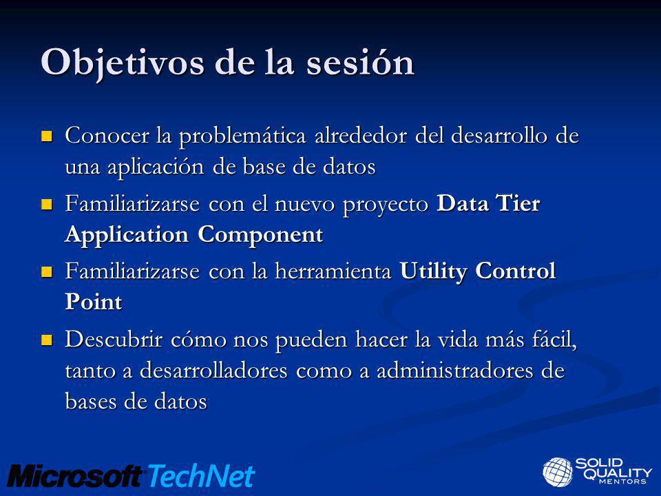 Objetivos de la sesión Conocer la problemática alrededor del desarrollo de una aplicación de base de datos.