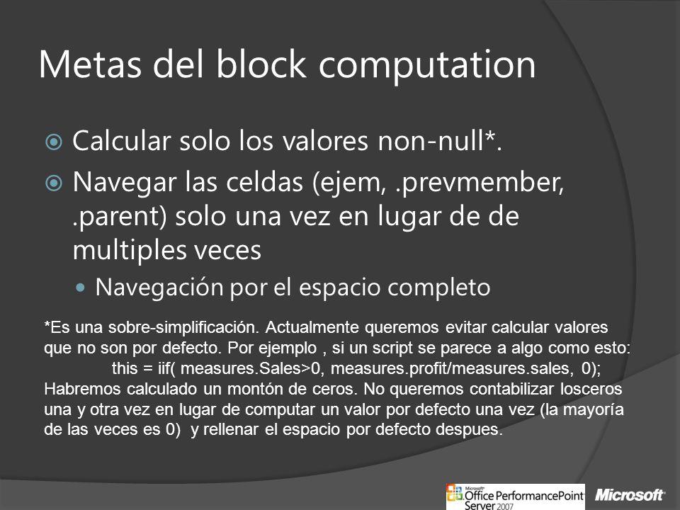 Metas del block computation
