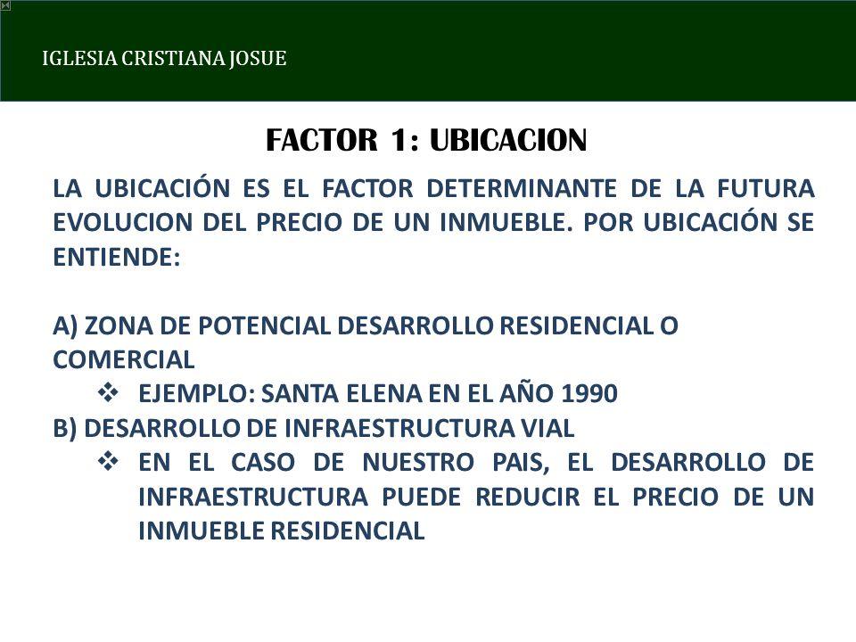 FACTOR 1: UBICACION LA UBICACIÓN ES EL FACTOR DETERMINANTE DE LA FUTURA EVOLUCION DEL PRECIO DE UN INMUEBLE. POR UBICACIÓN SE ENTIENDE: