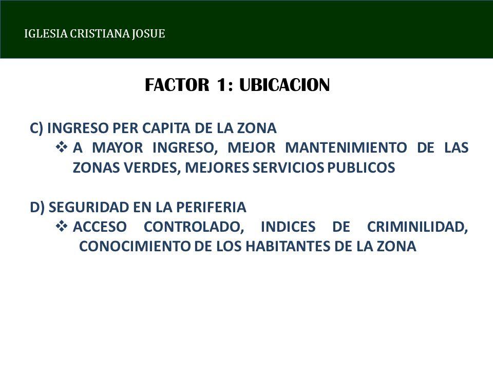 FACTOR 1: UBICACION C) INGRESO PER CAPITA DE LA ZONA