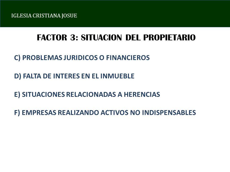 FACTOR 3: SITUACION DEL PROPIETARIO