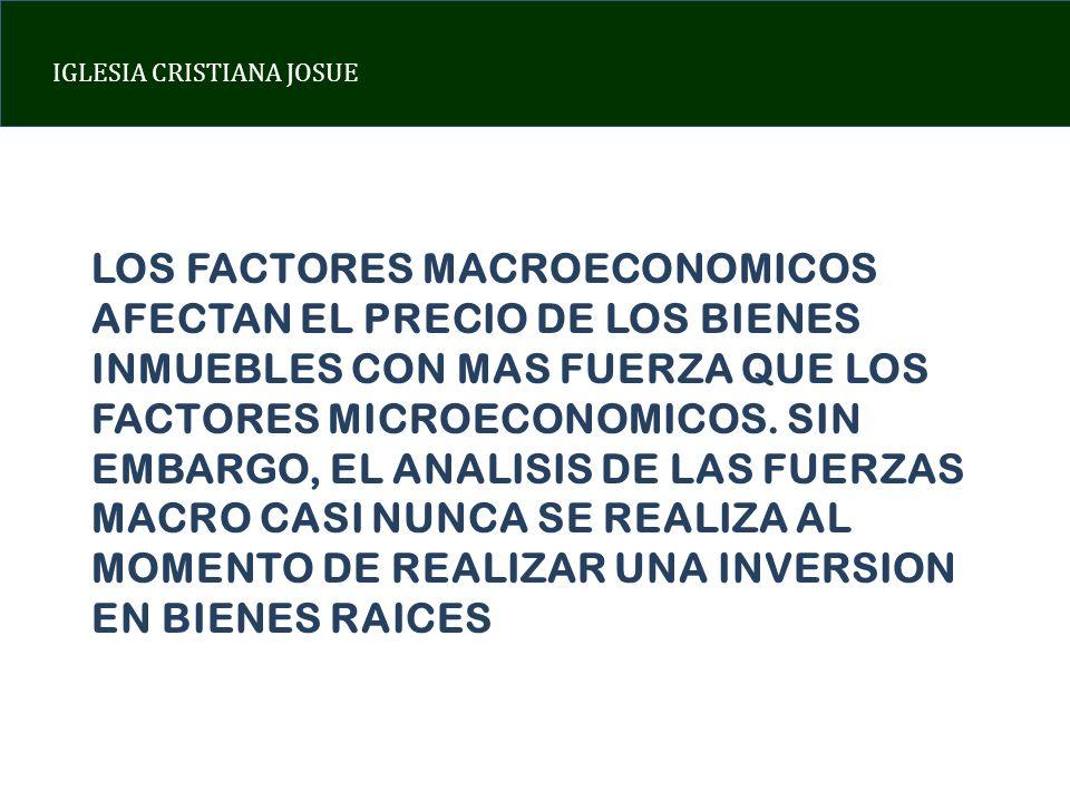 LOS FACTORES MACROECONOMICOS AFECTAN EL PRECIO DE LOS BIENES INMUEBLES CON MAS FUERZA QUE LOS FACTORES MICROECONOMICOS.