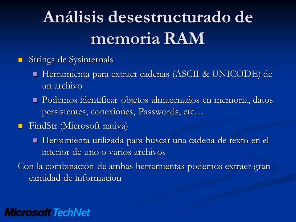Análisis desestructurado de memoria RAM