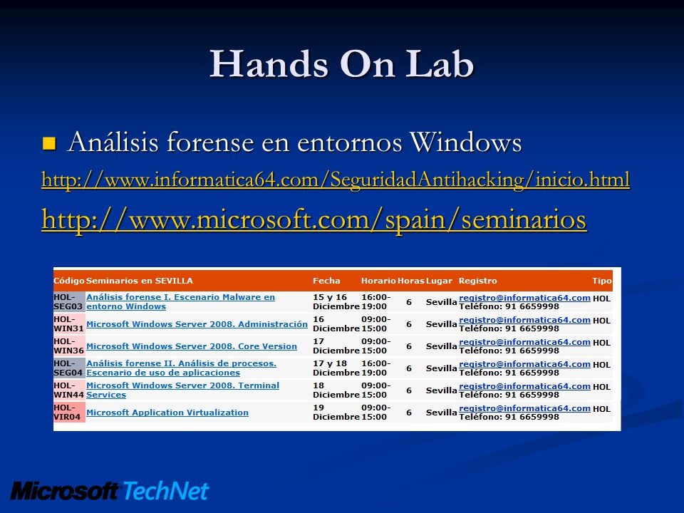 Hands On Lab Análisis forense en entornos Windows