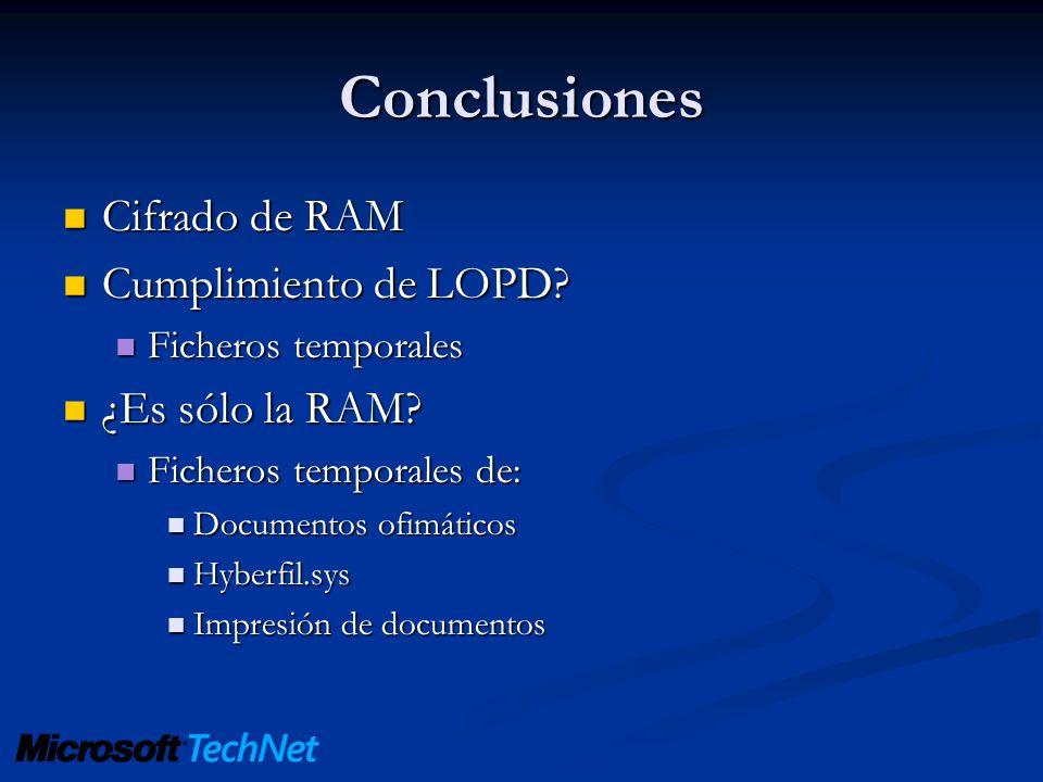 Conclusiones Cifrado de RAM Cumplimiento de LOPD ¿Es sólo la RAM
