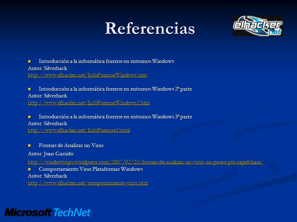 Referencias Introducción a la informática forense en entornos Windows