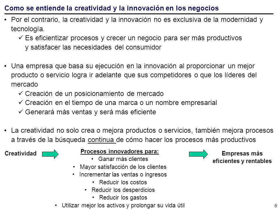 Procesos innovadores para: eficientes y rentables