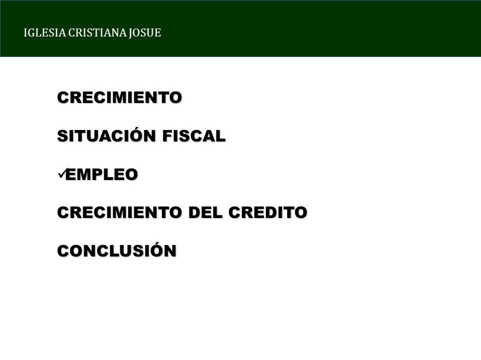 CRECIMIENTO SITUACIÓN FISCAL EMPLEO CRECIMIENTO DEL CREDITO CONCLUSIÓN