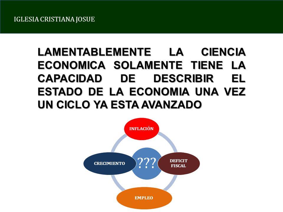 LAMENTABLEMENTE LA CIENCIA ECONOMICA SOLAMENTE TIENE LA CAPACIDAD DE DESCRIBIR EL ESTADO DE LA ECONOMIA UNA VEZ UN CICLO YA ESTA AVANZADO