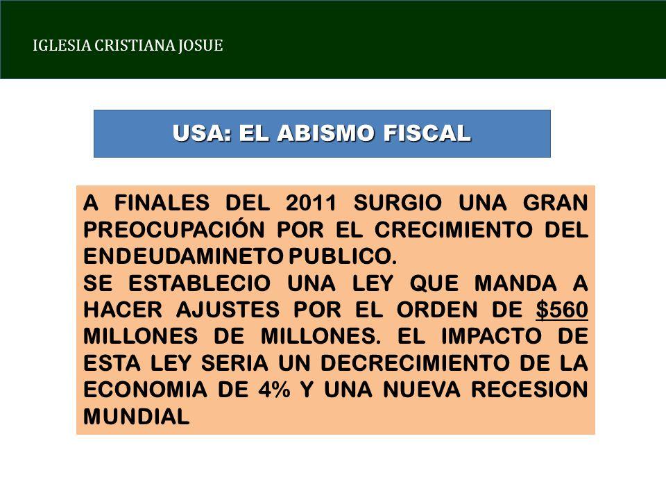 USA: EL ABISMO FISCAL A FINALES DEL 2011 SURGIO UNA GRAN PREOCUPACIÓN POR EL CRECIMIENTO DEL ENDEUDAMINETO PUBLICO.