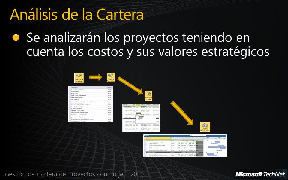 Análisis de la Cartera Se analizarán los proyectos teniendo en cuenta los costos y sus valores estratégicos.