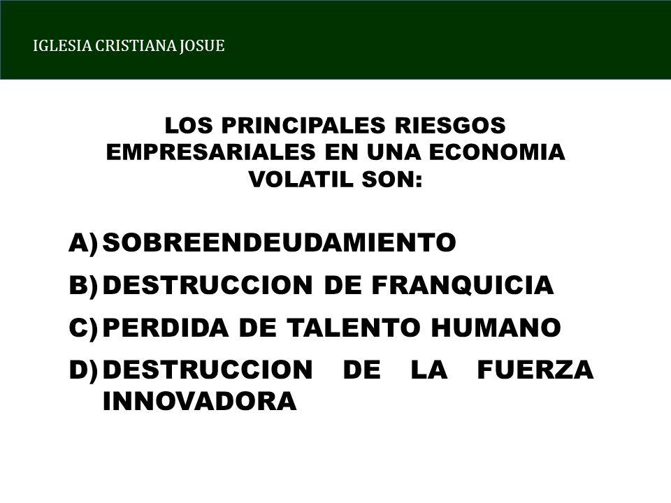 LOS PRINCIPALES RIESGOS EMPRESARIALES EN UNA ECONOMIA VOLATIL SON: