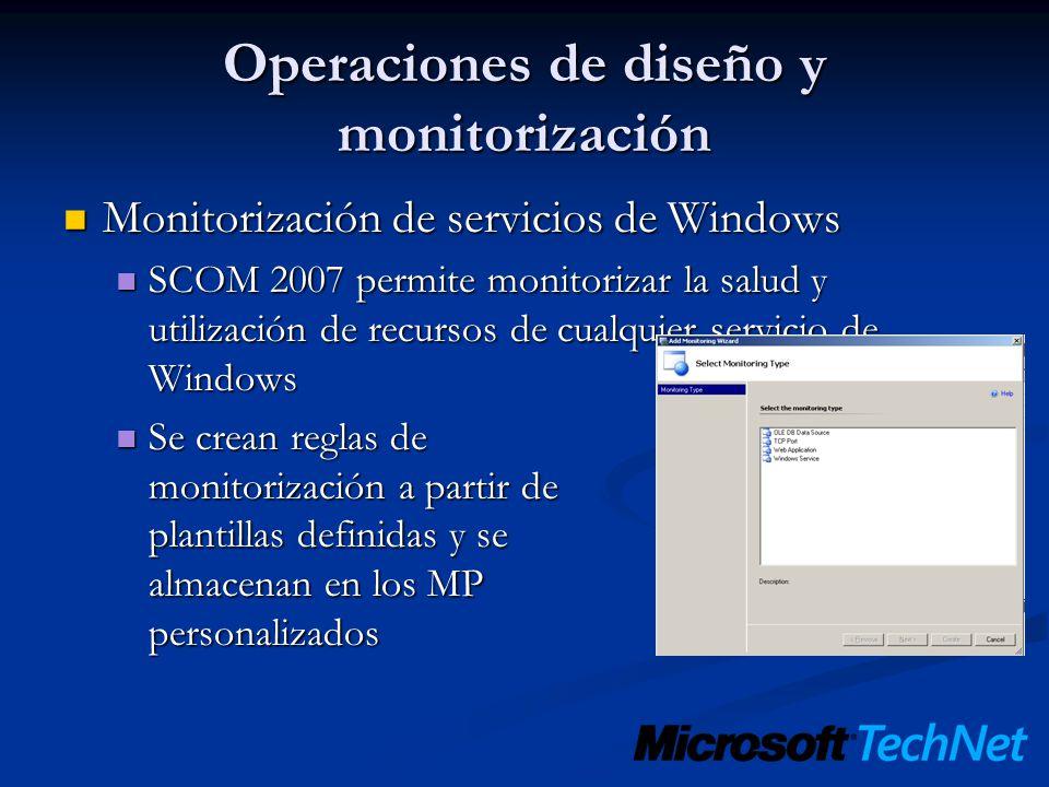 Operaciones de diseño y monitorización