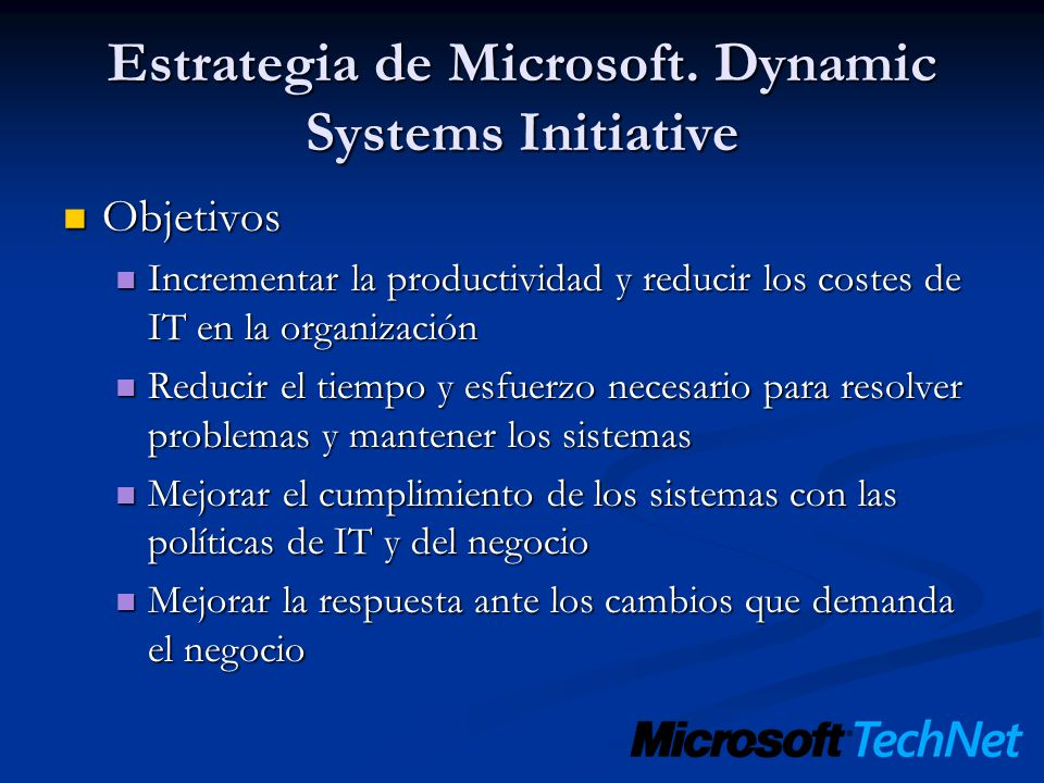 Estrategia de Microsoft. Dynamic Systems Initiative