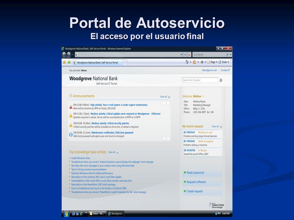 Portal de Autoservicio El acceso por el usuario final