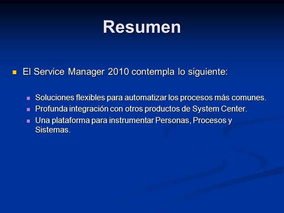 Resumen El Service Manager 2010 contempla lo siguiente: